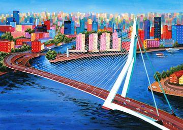 Schilderij Rotterdam met Erasmusbrug van Kunst Company
