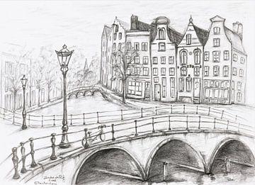 Kanal in Amsterdam von Ineke de Rijk