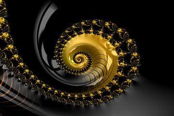 Fraktal Muschel Schwarz Gold van Markus Wegner
