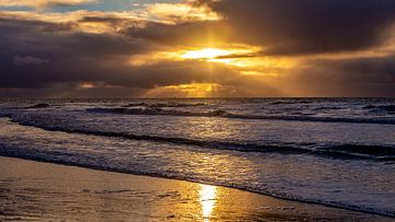 Zondsondergang aan de Noordzee
