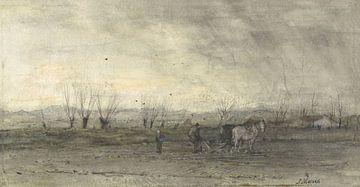 Landschap met ploegende boer, Jacob Maris