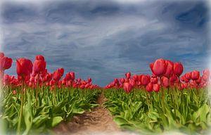 Digitaal geschilderde tulpen. van Hille Bouma