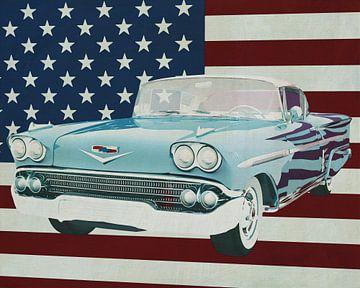 Chevrolet Impala Special Sport Coupe 1958 met vlag van de V.S.