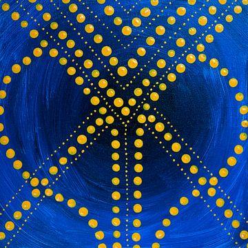 Blau malen gelbe Punkte