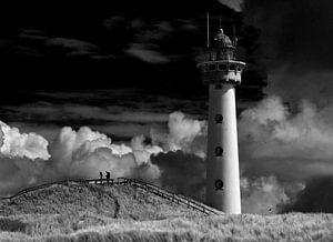 Vuurtoren Egmond aan Zee in zwart wit van