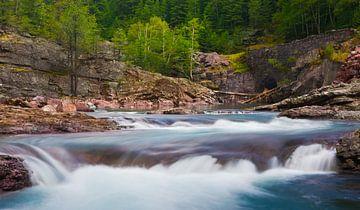 Stroomversnelling in Glacier National Park, Montana, Verenigde Staten van Henk Meijer Photography