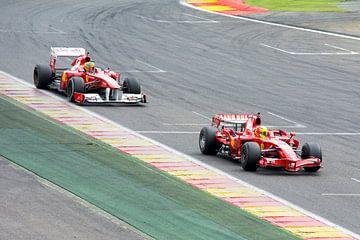 Ferrari F1 F2007 en F2009 op Spa Francorchamps van
