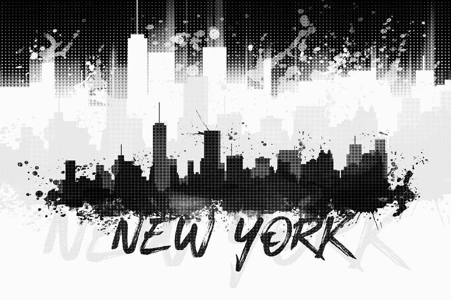 Grafische Kunst NYC Skyline Splashes II | zwart