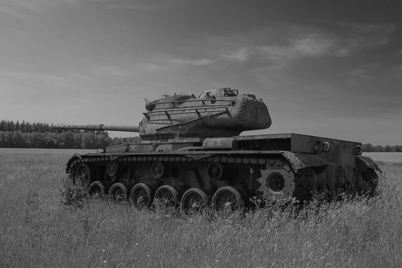 M47 Patton leger tank zwart wit 5 van Martin Albers Photography