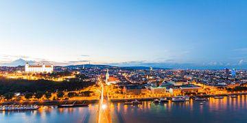 Skyline van Bratislava in Slowakije van Werner Dieterich
