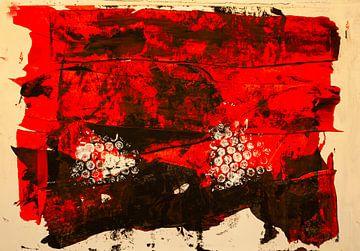 Rot-schwarze dekorative Farbfäche von Klaus Heidecker