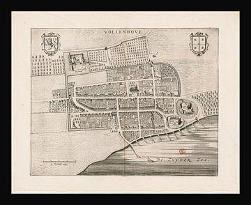 Oude kaart van Vollenhove van omstreeks 1652. van Gert Hilbink
