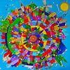Kleurrijk schilderij van de wereld met alle steden van Nicole Roozendaal thumbnail