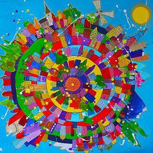 Kleurrijk schilderij van de wereld met alle steden van