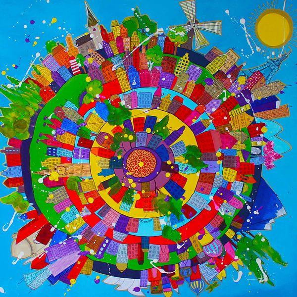 Kleurrijk schilderij van de wereld met alle steden van Nicole Roozendaal