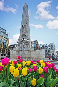 Nationaal monument op de Dam in de lente met bloeiende tulpen van Nisangha Masselink