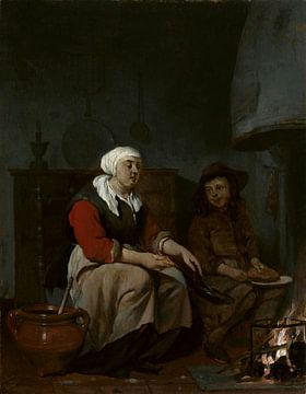 Eine Frau und ein Junge kochen Pfannkuchen, Gabriël Metsu