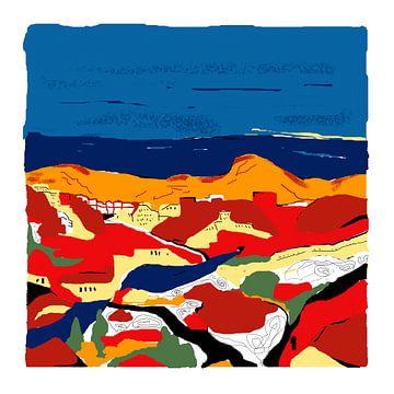 Zeefdruk art-kunst in kleur van Aloizana in Spanje van Marianne van der Zee