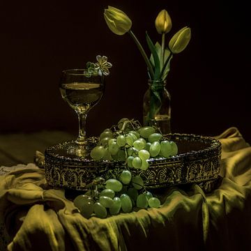 Stilleben Glas Wein und Trauben im Stil der niederländischen Meister von ina kleiman