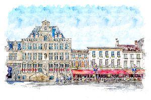 Das Rathaus und das Grand-Café-Hotel De Bourgondiër in Bergen op Zoom (Aquarell)