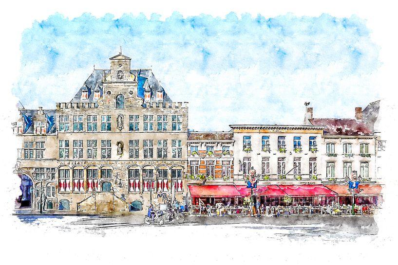 Das Rathaus und das Grand-Café-Hotel De Bourgondiër in Bergen op Zoom (Aquarell) von Art by Jeronimo