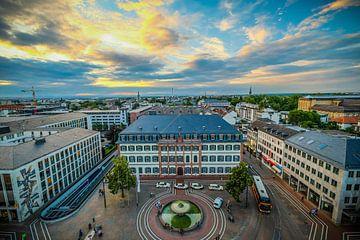 Schilderachtig uitzicht vanuit een hoge hoek op de stad Darmstadt van pixxelmixx