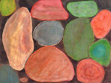 Lovely colorful Stones on dark Background  van Heidi Capitaine
