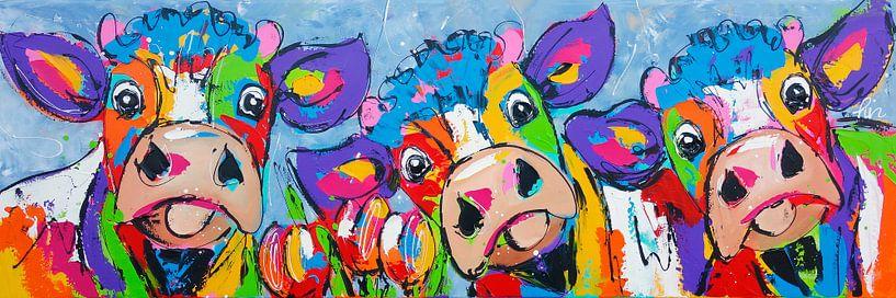3 koeien blauwgrijs van Vrolijk Schilderij