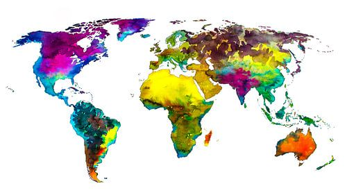 Tropische Farbe Weltkarte