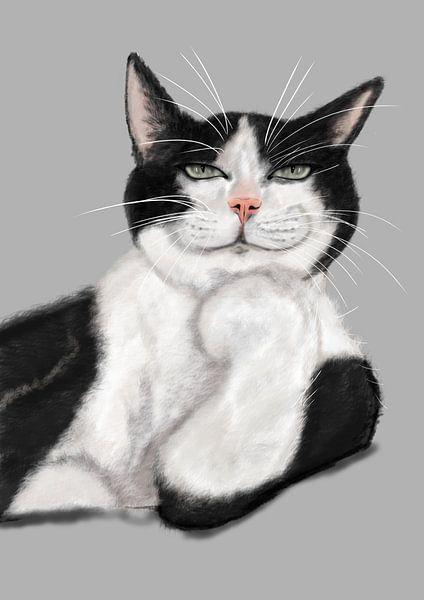 dessin numérique du chat froid sur Jos Laarhuis