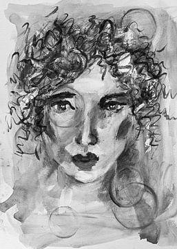 """Porträt Frau """"Frutsely"""" unter dem Bann des Rings schwarz und weiß von Bianca ter Riet"""