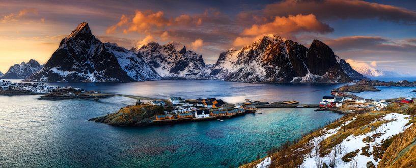 Lofoten Norwegen Panorama - Reine (Moskenes) von Sven Broeckx