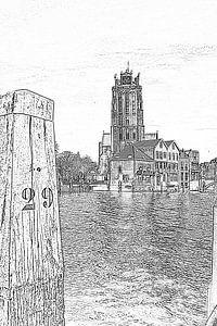 Grote Kerk vanaf Leuvehaven van Henk Hartzheim