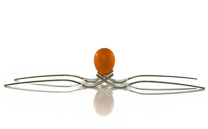 een ei balanceert op twee vorken van Compuinfoto .