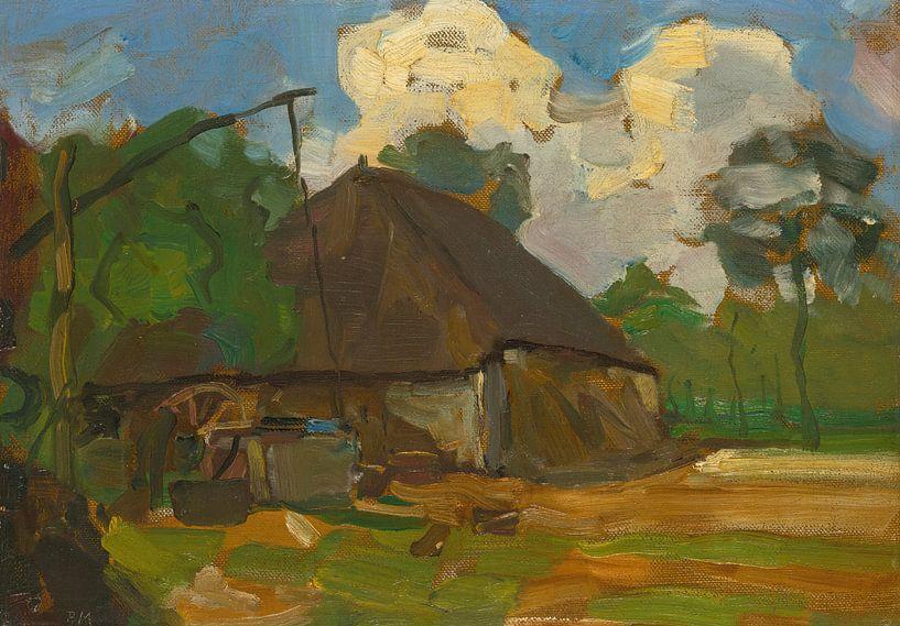 Bauernhofgebäude mit Brunnen im Tageslicht, Piet Mondrian von Meesterlijcke Meesters
