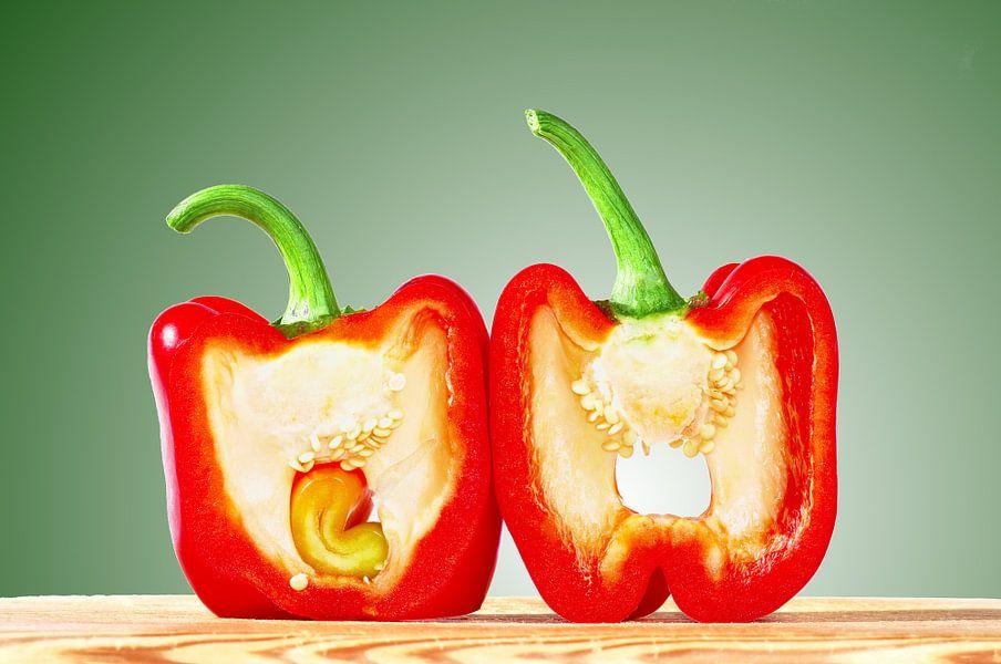 Rode paprika dwars