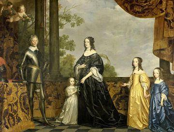 Frederik Hendrik en zijn vrouw Amalia van Solms en hun drie jongste dochters, Gerard van Honthorst