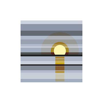 Sonnenuntergang, grau, gelb, Natur, Meer von Color Square