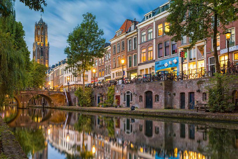 Utrecht - Spiegelende Oudegracht  van Thomas van Galen