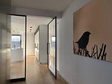 Klantfoto: Silhouet mus van Sascha van Dam, als print op doek