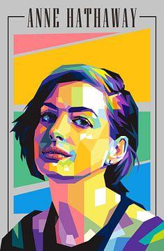 Anne Hathaway Pop Art van Hidayatullah .