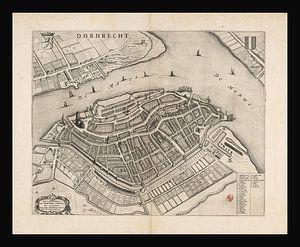 Alte Karte von Dordrecht aus der Zeit um 1652