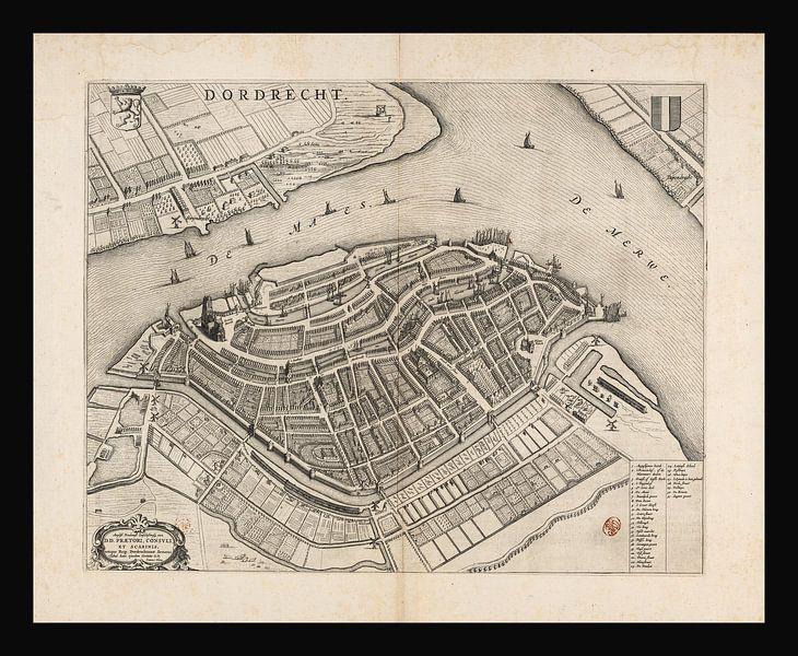 Alte Karte von Dordrecht aus der Zeit um 1652 von Gert Hilbink