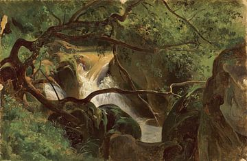 André Giroux~Waldinnere mit einem Wasserfall, Papigno