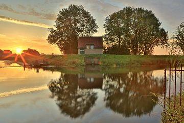 Sonnenaufgang am Sumpfdrachen des Bossche Broek in Den Bosch von Jasper van de Gein Photography