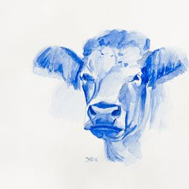 Aquarel portret Koe Delfts blauw van Henriëtte Mosselman