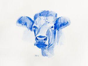 Aquarel portret Koe Delfts blauw van