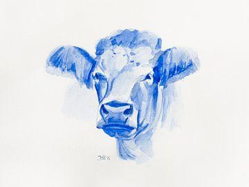 Portrait à l'aquarelle d'une vache sur Henriëtte Mosselman