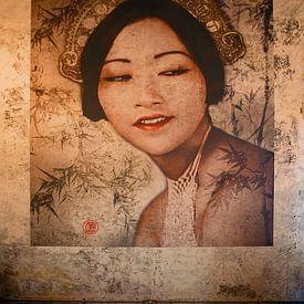 Wandgemälde im China-Haus in Phnom Penh, Kambodscha von Robert van Hall