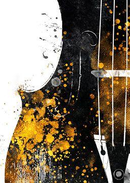 Violoncello 2 muziekkunst goud en zwart #violoncello #muziek van JBJart Justyna Jaszke
